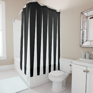 Black and White Two Tone Pleat Illusion Shower Curtain