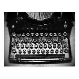 Black and White Typewriter Postcard