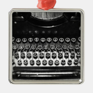 Black and White Typewriter Silver-Colored Square Decoration