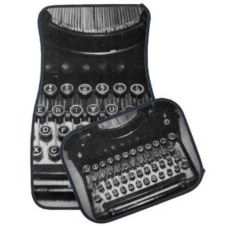 Black and White Typewriter Floor Mat