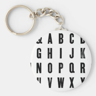 Black and White Typography Basic Round Button Key Ring