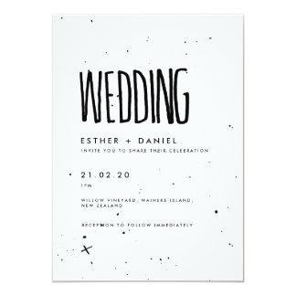 Black and White Typography Wedding Invitation