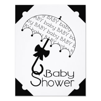 Black and White Umbrella Baby Shower Invitation