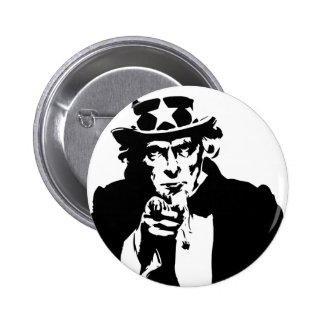 Black and White Uncle Sam Icon 6 Cm Round Badge