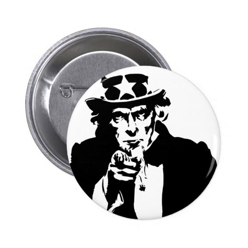 Black and White Uncle Sam Icon Pinback Buttons