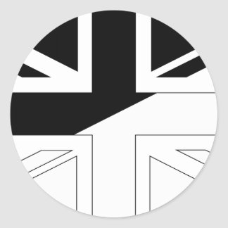 Black and White Union Jack British(UK) Flag Classic Round Sticker