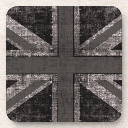 Black and white Union Jack grunge coaster