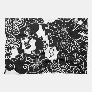 Black and White Urban Graffiti pattern Tea Towel