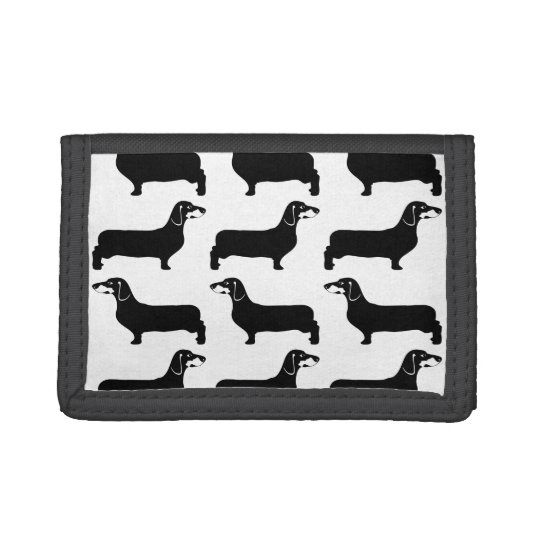 Black And White Velcro Dachshund Wallet