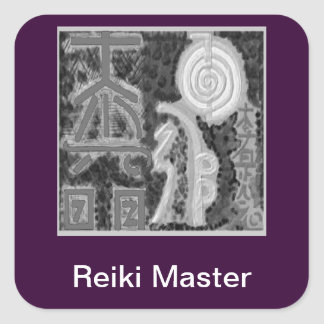 Black and White Version - Reiki n Karuna Square Sticker