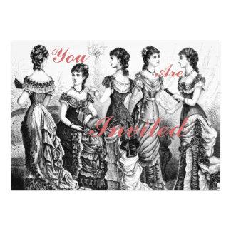 Black And White Victorian Fashions Custom Invitation