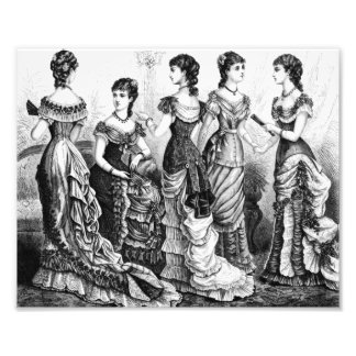Black And White Victorian fashions Photo Print