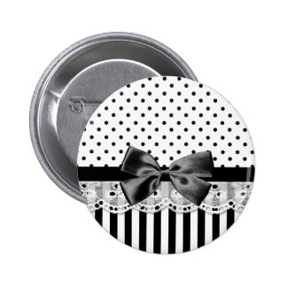 Black And White Victorian Stripes With Bow Button