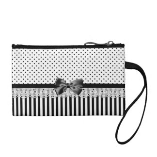 Black And White Victorian Stripes With Bow Coin Purses