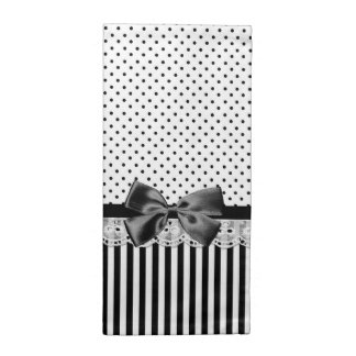 Black And White Victorian Stripes With Bow Napkin