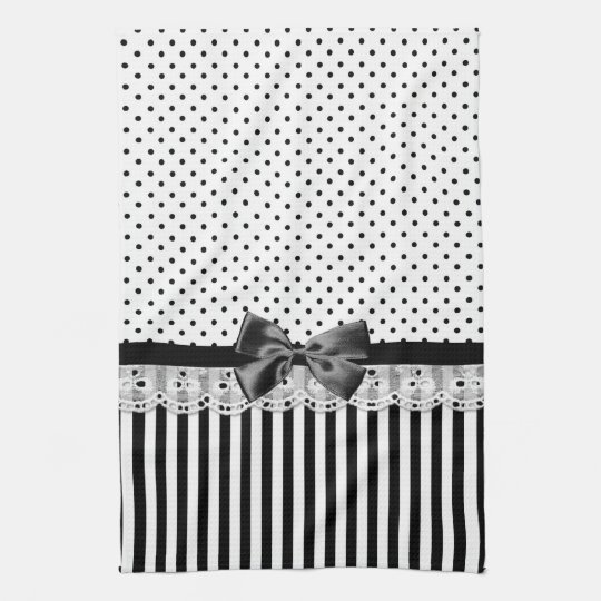 Black And White Victorian Stripes With Bow Tea