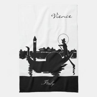 Black and White Vience Italy Tea Towel