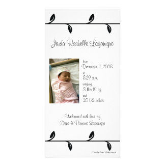 Black and White Vine Birth Announcement Customized Photo Card