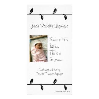 Black and White Vine Birth Announcement Photo Card