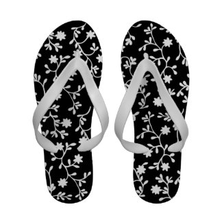 Black and white vine flip flops