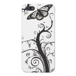 black and White vines and butterfly iPhone 5/5S Cover
