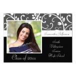 Black and White Vines Photo Graduation Personalized Invitations