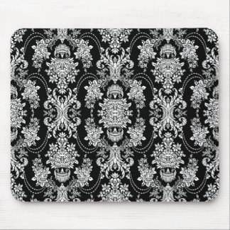 Black And White Vintage Baroque Floral Pattern Mouse Mat
