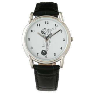 BLACK AND WHITE VINTAGE BOWLING WOMAN WATCH