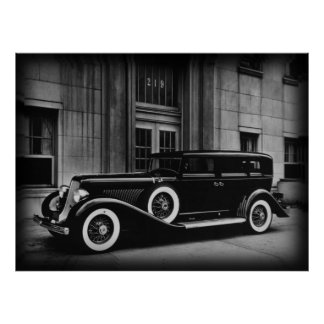 Black And White Vintage Car Photograph Poster