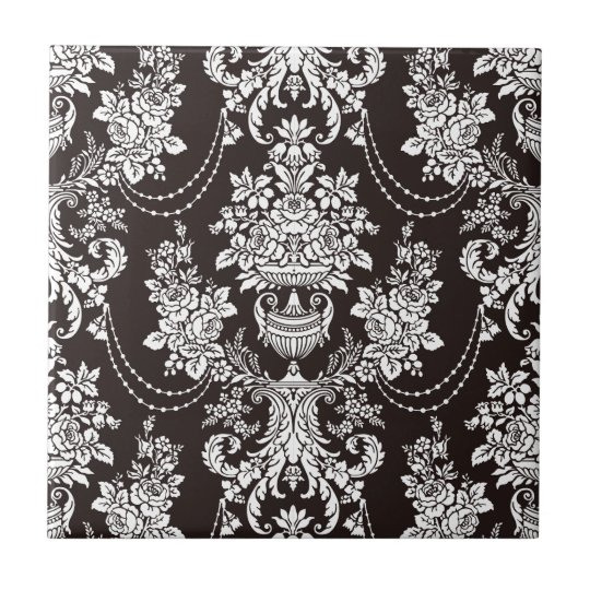 Black and white vintage damask pattern customise small