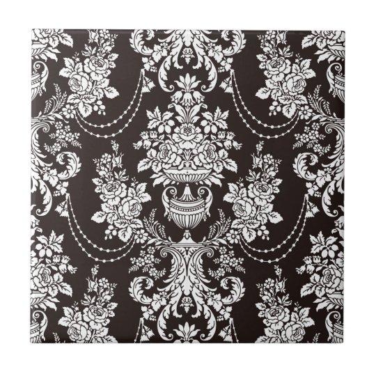 Black and white vintage damask pattern customise tile