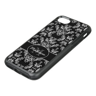 Black and White vintage damask pattern Monogram OtterBox Symmetry iPhone 8/7 Case