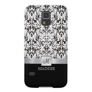 Black and White Vintage Damask with Monogram Galaxy S5 Case
