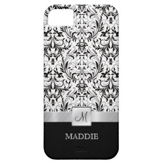 Black and White Vintage Damask with Monogram Case For The iPhone 5