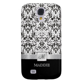Black and White Vintage Damask with Monogram Galaxy S4 Case