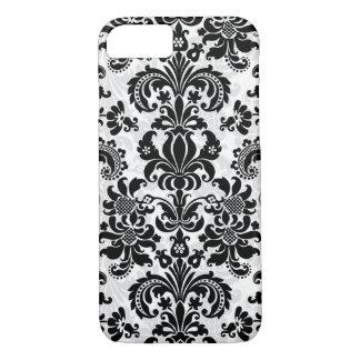 Black And White Vintage Floral Damask iPhone 7 Case