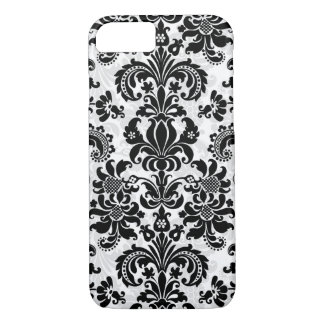 Black And White Vintage Floral Damask iPhone 8/7 Case