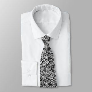 Black And White Vintage Floral Pattern Tie