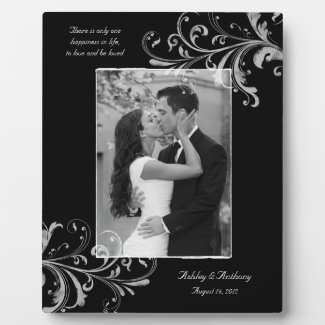 Black and White Vintage Floral Photo Wedding Plaque