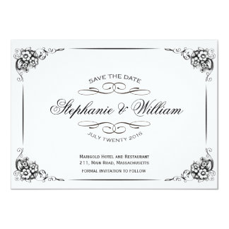 Black and White Vintage Floral Save The Date Card 11 Cm X 16 Cm Invitation Card