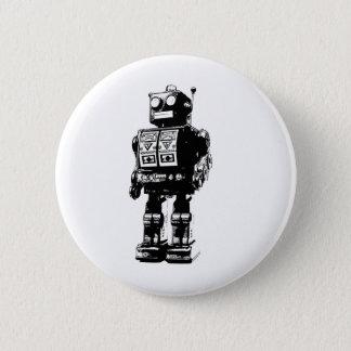 Black and White Vintage Robot 6 Cm Round Badge