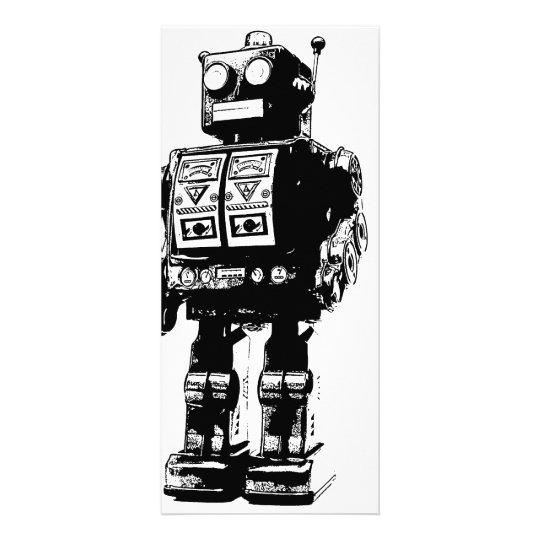 Black and White Vintage Robot Custom Rack Card
