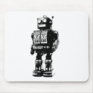 Black and White Vintage Robot Mouse Mat