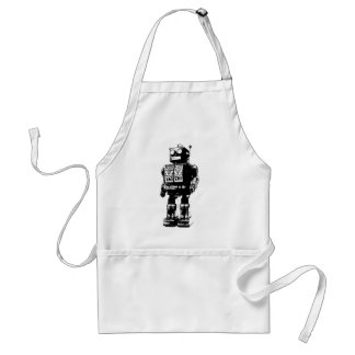 Black and White Vintage Robot Standard Apron