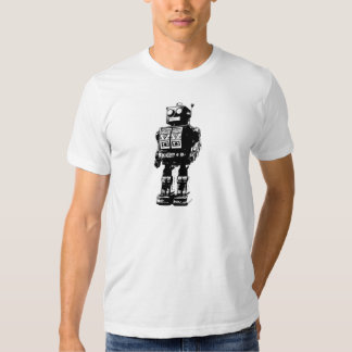 Black and White Vintage Robot T-Shirt