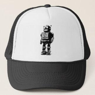 Black and White Vintage Robot Trucker Hat