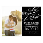 Black and White Vintage Script Photo Save the Date