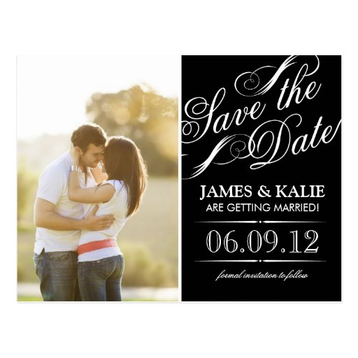 Black and White Vintage Script Photo Save the Date Post Cards