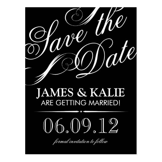 Black and White Vintage Script Save the Date