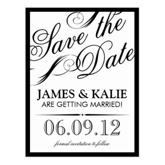 Black and White Vintage Script Save the Date Postcard